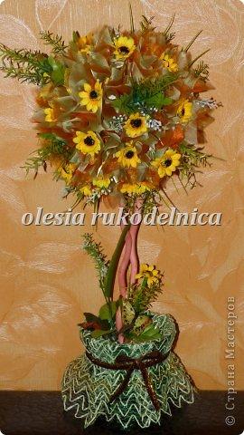 Дерево счастья. Материалы органза, искус.цветы, гипс, декоративная ива. фото 8