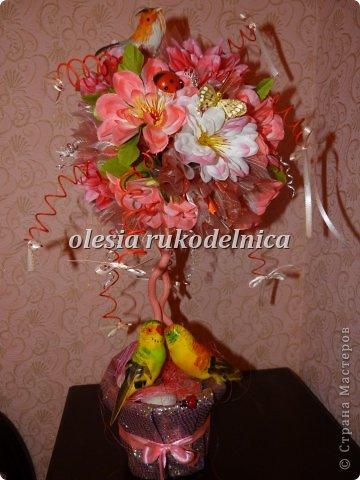 Дерево счастья. Материалы органза, искус.цветы, гипс, декоративная ива. фото 9