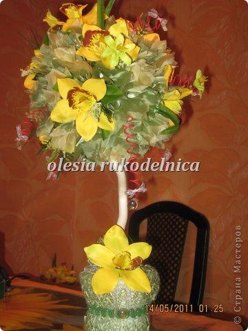 Дерево счастья. Материалы органза, искус.цветы, гипс, декоративная ива. фото 7