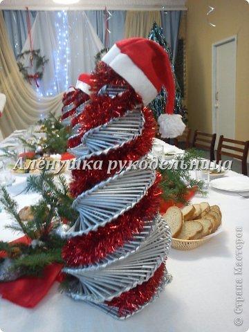 Ёлочки из газет, веночки из ивы, икебаны с пихтой на столы,драпировка стен и стола, снеговик ростом 2м с символом года-змеёй. Итак, делюсь свеженьким своим оформлением  банкета на сей раз Новогоднего...сразу оговорюсь, что ёлки идея не моя, а подсмотрела её здесь у Светланы https://picasaweb.google.com/116142800034671214897/Svetlana размер только мне нужен был большой и ёлочки не такие изящные как у Светланы. на макушки сшила шапки...так вроде бы повеселее. скоро добавлю еще украшения на эти ёлки.через несколько дней будет следующий банкет...и еще несколько банкетов...фотки выложу :) фото 1