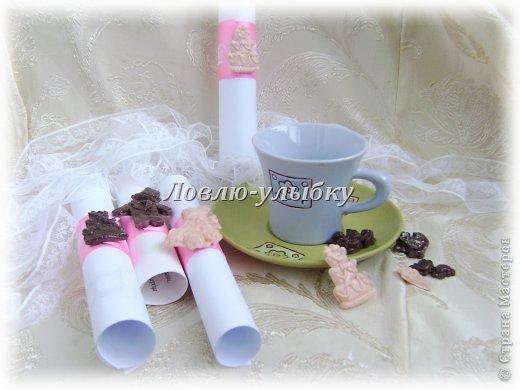 """Вот такие вариациии на тему Свадебных приглашений. Заказали приглашения в форме свитков...тематики свадьбы нет, предпочтений тоже...единственное пожелание было - можно добавить розовую ленту. Повторять обычные свитки и ленты мне неочень хотелось....хотелось что-то  новое относительно.... Поэтому вариация первая """"5 o`clock tea"""" фото 1"""