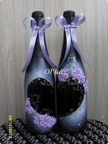 Здравствуйте, Мастерицы!!!! Хочу показать Вам свои новые работы с цветочками из пластики. Моя первая ваза. Сделана на заказ.  фото 11