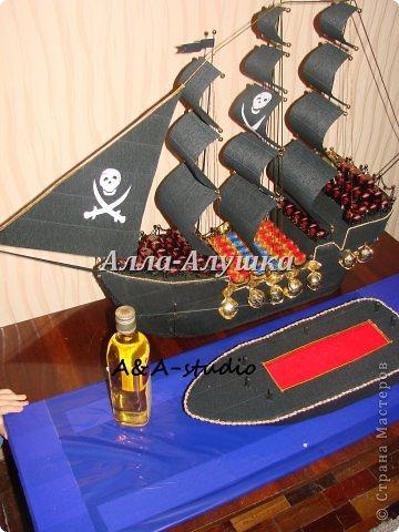 Доброго времени суток, дорогие жители страны мастеров! Выкладываю на ван суд свой уже второй пиратский корабль. Он непростой и история его создания тоже интересная. Изначально задумывался просто корабль мужчине. Я, не долго думая, предложила сделать корабль с бутылкой. Заказчик согласился, привез бутылку и сообщил, что корабль обязательно должен быть пиратским. И вот тут я задумалась. В итоге получилась такая конструкция. фото 3
