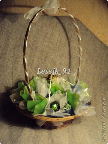 это еще новогодний букет! сделаны цветы из органзы - белой и синей! фото 1