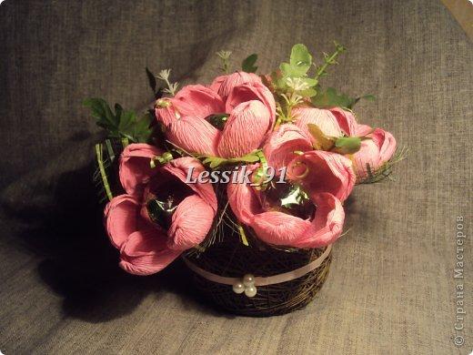 это еще новогодний букет! сделаны цветы из органзы - белой и синей! фото 5