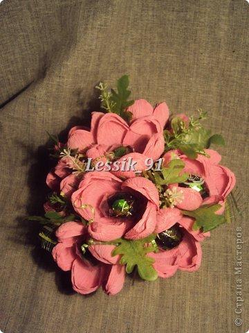 это еще новогодний букет! сделаны цветы из органзы - белой и синей! фото 6