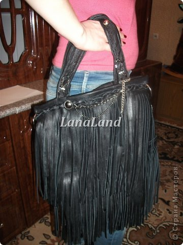 мечты сбываются)кожаная сумка с бахромой фото 4