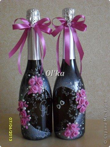 Декор предметов Свадьба Лепка Роспись Как я делаю свои бутылочки МК Бусинки Клей Краска Ленты Пластика фото 1