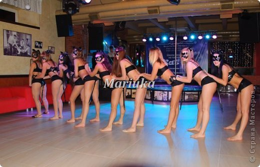 """Приветствую Всех и хочу поделиться своей """"масштабной"""" работой)))В студии, куда я хожу заниматься танцами, мой тренер организовала школу танцев на пилоне """"Kats"""".Меня попросили сшить 11 костюмов из лака для выступления.Вот такие кошечки у меня получились))) фото 11"""
