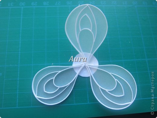 День добрый! Работаю над новой композицией, центральной частью которой будут эти анемоны. Сборка – дело долгое, потому сначала покажу, как делаю такие цветочки. Получаются они очень нежными, воздушными. Цветок, исполненный в такой технике я увидела впервые на сайте Botanical Quilling Japan - ссылка внизу поста, здесь не получается вставить активную:(.  МК на сайте я не нашла, но принцип вполне ясен по фото. Решила поделиться с вами процессом:)) фото 5