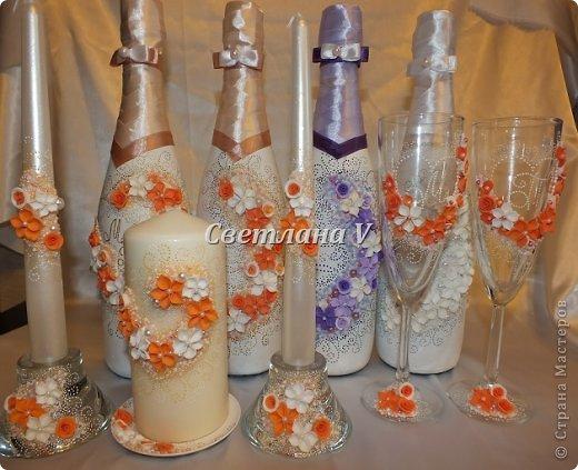 Набор  в персиковом цвете. Цвета для дополнительных бутылок выбирала невеста)