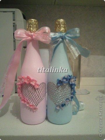 Бутылки делала на свадьбу друзей фото 3