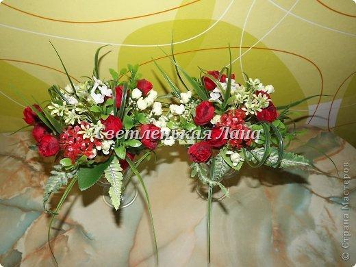 Приветствую всех у себя на страничке! Мои интерьерные композиции для украшения праздничного стола. Крепила цветы, листья, ягоды на пенопласт при помощи термопистолета.  фото 2