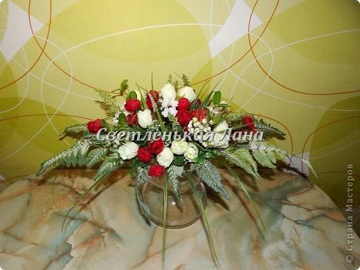 Приветствую всех у себя на страничке! Мои интерьерные композиции для украшения праздничного стола. Крепила цветы, листья, ягоды на пенопласт при помощи термопистолета.  фото 1