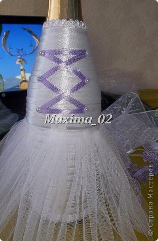 Поступил заказ с магазина сделать несколько пар свадебных чехлов для бутылок в различной цветовой гамме.Начала я с фиолетового.... фото 9