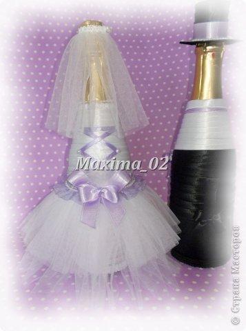Поступил заказ с магазина сделать несколько пар свадебных чехлов для бутылок в различной цветовой гамме.Начала я с фиолетового.... фото 3