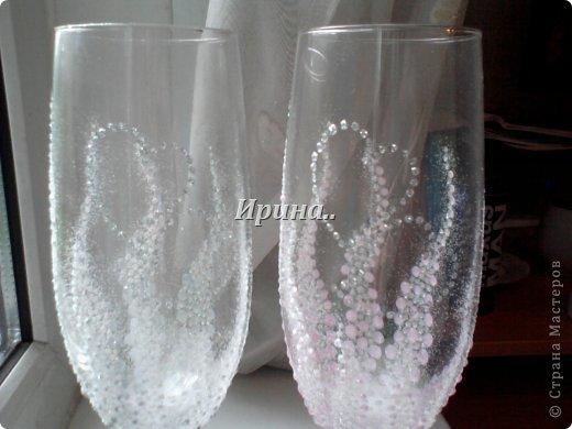 В результате долгих трудов получились вот такие бокальчики со свечками-  серо-жемчужный и розово-жемчужный фото 3