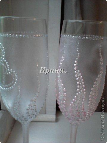 В результате долгих трудов получились вот такие бокальчики со свечками-  серо-жемчужный и розово-жемчужный фото 5
