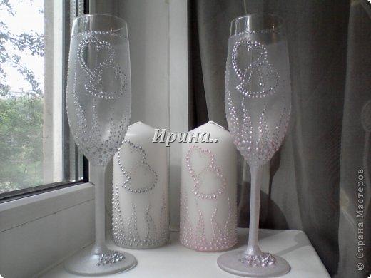 В результате долгих трудов получились вот такие бокальчики со свечками-  серо-жемчужный и розово-жемчужный фото 1