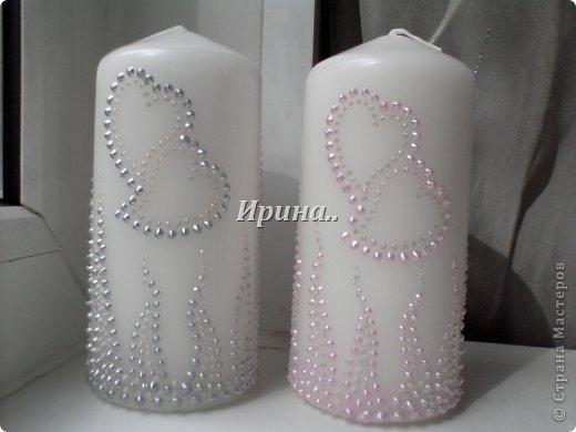 В результате долгих трудов получились вот такие бокальчики со свечками-  серо-жемчужный и розово-жемчужный фото 6