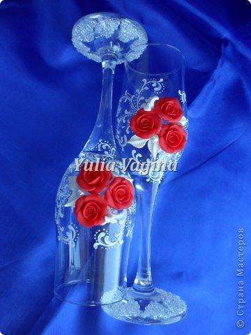 Получила заказ на оформление юбилейных свадебных бокалов для вручения в день города, вот, что у меня получилось... фото 5