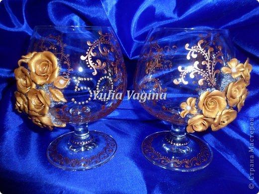 Получила заказ на оформление юбилейных свадебных бокалов для вручения в день города, вот, что у меня получилось... фото 3