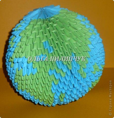 Для глобуса понадобится всего - 1063 треугольных модулей. синих - 722 модуля зелёных - 304 модуля белых - 37 модулей фото 1