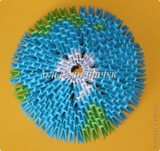 Для глобуса понадобится всего - 1063 треугольных модулей. синих - 722 модуля зелёных - 304 модуля белых - 37 модулей фото 15