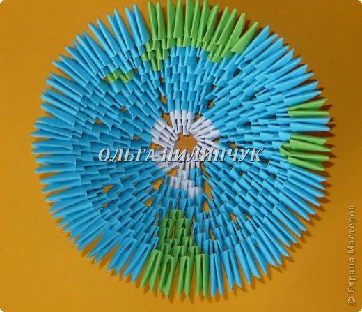 Для глобуса понадобится всего - 1063 треугольных модулей. синих - 722 модуля зелёных - 304 модуля белых - 37 модулей фото 16