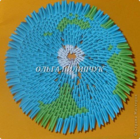 Для глобуса понадобится всего - 1063 треугольных модулей. синих - 722 модуля зелёных - 304 модуля белых - 37 модулей фото 21