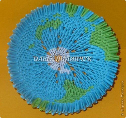 Для глобуса понадобится всего -  1063 треугольных модулей. синих - 722 модуля зелёных - 304 модуля белых - 37 модулей  фото 22