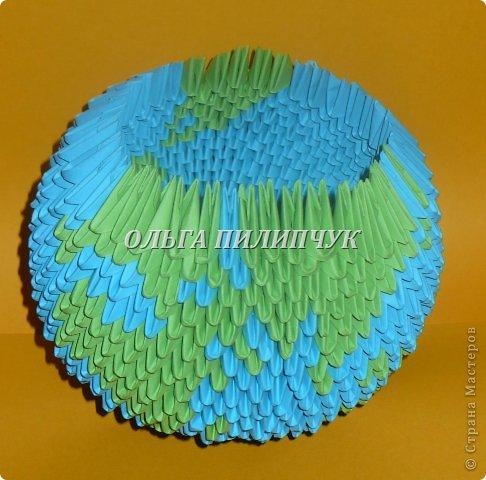 Для глобуса понадобится всего -  1063 треугольных модулей. синих - 722 модуля зелёных - 304 модуля белых - 37 модулей  фото 23