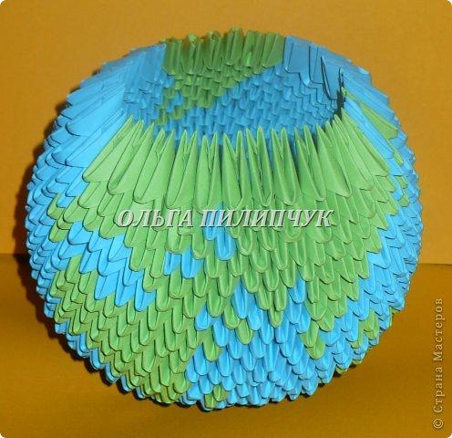 Для глобуса понадобится всего - 1063 треугольных модулей. синих - 722 модуля зелёных - 304 модуля белых - 37 модулей фото 24