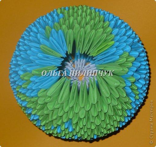Для глобуса понадобится всего -  1063 треугольных модулей. синих - 722 модуля зелёных - 304 модуля белых - 37 модулей  фото 27