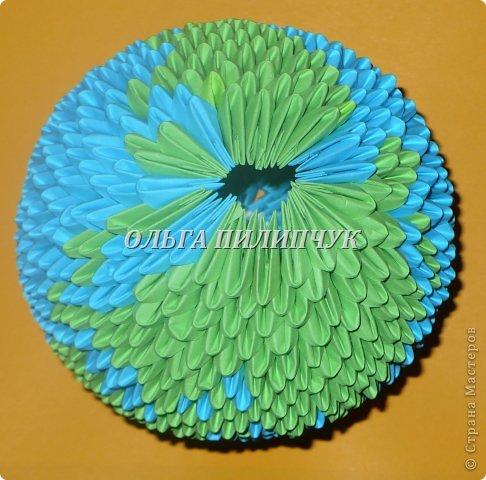 Для глобуса понадобится всего - 1063 треугольных модулей. синих - 722 модуля зелёных - 304 модуля белых - 37 модулей фото 28
