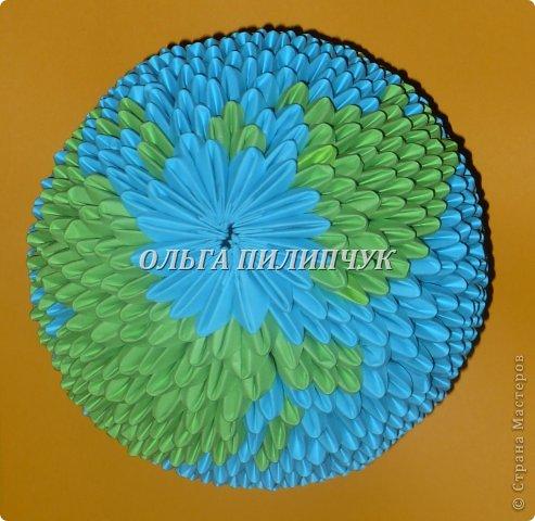 Для глобуса понадобится всего -  1063 треугольных модулей. синих - 722 модуля зелёных - 304 модуля белых - 37 модулей  фото 29