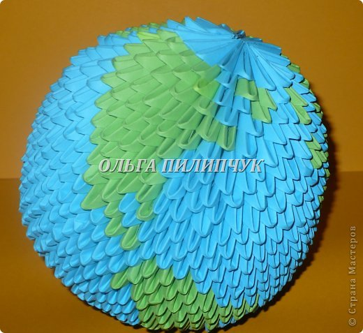 Для глобуса понадобится всего - 1063 треугольных модулей. синих - 722 модуля зелёных - 304 модуля белых - 37 модулей фото 30