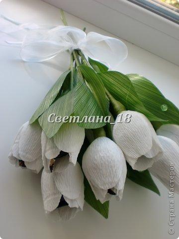 Добрый вечер всем,всем, всем!!! Представляю на суд свою работу - букет тюльпанов. Заказчице нужен был букет  из как-будто только, что срезанных цветов. Остановились на тюльпанах. фото 3