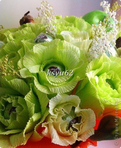 """Добрый день! Хочу показать Вам новый букет. Использованы конфетки """"Nue"""", сухоцветы, желуди с искуственной основой и натуральной шляпкой и, нелюбимые мной, искуственные листья.   фото 4"""