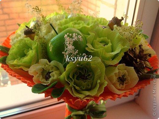 """Добрый день! Хочу показать Вам новый букет. Использованы конфетки """"Nue"""", сухоцветы, желуди с искуственной основой и натуральной шляпкой и, нелюбимые мной, искуственные листья.   фото 6"""