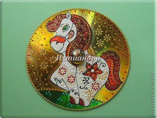 Картина панно рисунок Новый год Витраж Лошадь - лучший подарок  Диски компьютерные Краска фото 3