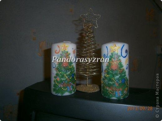 Декупаж салфетками на свечах, путём припаивания горячей ложкой. фото 2