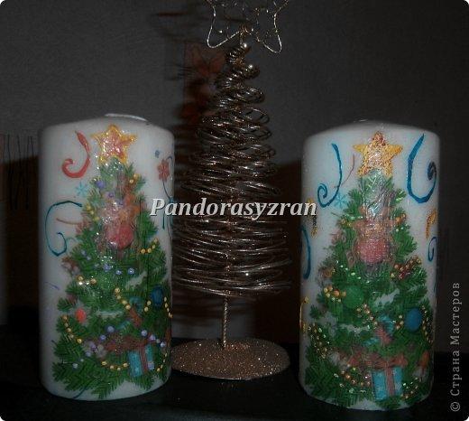 Декупаж салфетками на свечах, путём припаивания горячей ложкой. фото 1