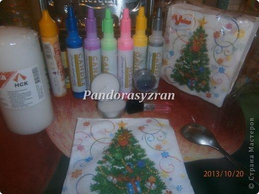 Декупаж салфетками на свечах, путём припаивания горячей ложкой. фото 3
