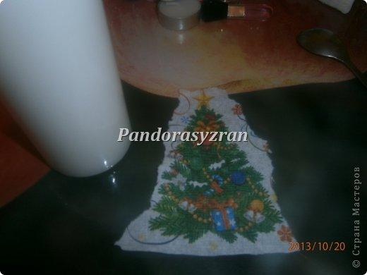 Декупаж салфетками на свечах, путём припаивания горячей ложкой. фото 4