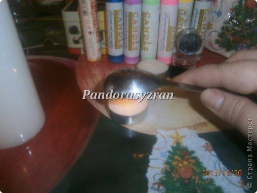Декупаж салфетками на свечах, путём припаивания горячей ложкой. фото 5