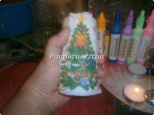 Декупаж салфетками на свечах, путём припаивания горячей ложкой. фото 6