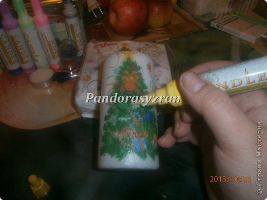 Декупаж салфетками на свечах, путём припаивания горячей ложкой. фото 9