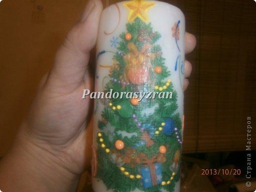 Декупаж салфетками на свечах, путём припаивания горячей ложкой. фото 10