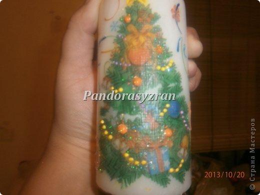 Декупаж салфетками на свечах, путём припаивания горячей ложкой. фото 12